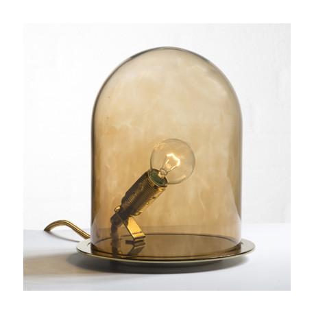 Lampe à poser Glow in a Dome, Ebb & Flow, marron, base métal argenté, Diamètre 15,5 cm