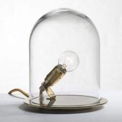 Lampe à poser Glow in a Dome, Ebb & Flow, transparent, base laiton Diamètre 20 cm