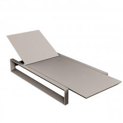 Chaise longue Frame taupe mat, avec coussin tissu Silvertex, Vondom