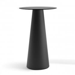 Mange debout design Fura rond, Plust Collection base noire perlée, plateau noir diamètre 60 cm