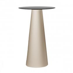 Mange debout design Fura rond, Plust Collection base sable, plateau noir diamètre 60 cm