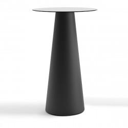 Mange debout design Fura rond, Plust Collection base noire perlée, plateau blanc diamètre 60 cm