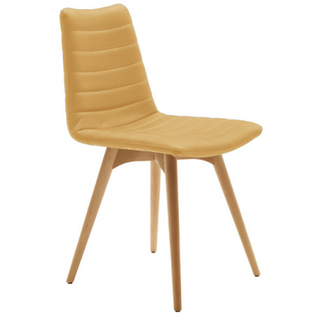 Chaise design Cover, Midj beige pieds bois