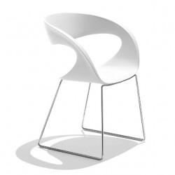 Chaise design Raff pieds doubles, Midj blanc