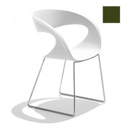 Chaise design Raff pieds doubles, Midj vert olive