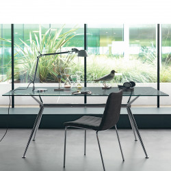 Table Brioso, Midj verre transparent 160x90 cm