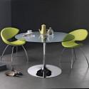 Table ronde Infinity, Midj plateau verre, pied chromé Diamètre 60 cm