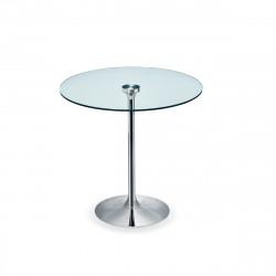 Table ronde Infinity, Midj plateau verre, pied chromé Diamètre 80 cm