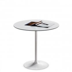 Table ronde Infinity, Midj plateau blanc, pied blanc Diamètre 120 cm