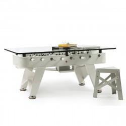 Table à manger baby foot rectangulaire, RS Barcelona blanc Hauteur 76 cm
