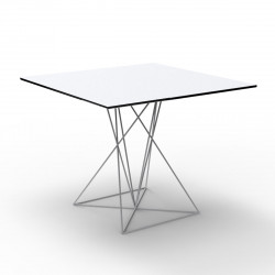 Table Faz inox, Vondom blanc 100x100xH72 cm