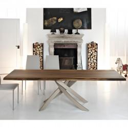 Table Sculptura en bois noyer massif 250x106 cm