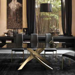 Table Sculptura en verre marron foncé brillant 160/200/240x90 cm