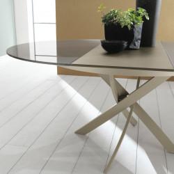 Table Elica à rallonge gris tourterelle brillant 175x125 cm