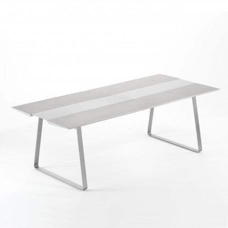 Table Extrados 240 Céramique gris et Aluminium 242x110 cm