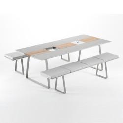 Table Extrados 240 Céramique gris et Teck 242x110 cm