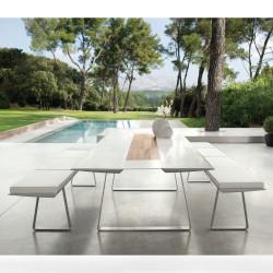 Table Extensible Extrados Medium Céramique blanc et Teck 182/242x110 cm
