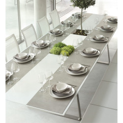 Table Extensible Extrados Large Céramique Gris et Corian blanc 242x332x110 cm