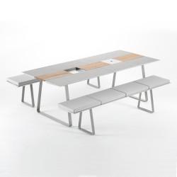 Table Extensible Extrados Large Céramique Gris et Teck 242x332x110 cm