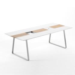 Table Extensible Extrados Large Céramique Blanc et Teck 242x332x110 cm