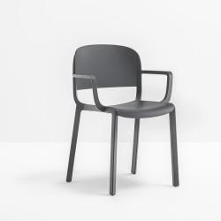 Lot de 4 fauteuils bistrot design, Dome 265 avec accoudoirs, Pedrali, gris anthracite