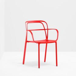 Lots de 2 Chaises aluminium avec accoudoirs Intrigo 3715, Pedrali, rouge