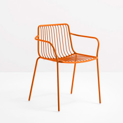 Lot de 2 chaises filaires avec accoudoirs, Nolita 3655, Pedrali, orange