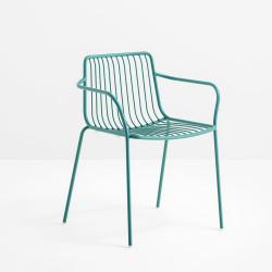 Lot de 2 chaises filaires avec accoudoirs, Nolita 3655, Pedrali, bleu azur