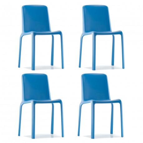 Lot de 4 chaises Snow 300, Pedrali bleu