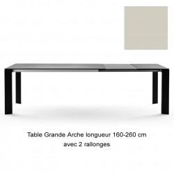Table Grande Arche avec 2 rallonges, Fast gris poudré, Longueur 160/260 cm