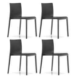 Lot de 4 Chaises Volt 670, Pedrali, Noir