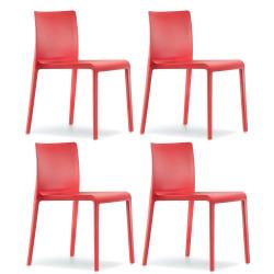 Lot de 4 Chaises Volt 670, Pedrali, Rouge