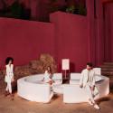 Ensemble Canapé Rond Vela, Vondom blanc, tissu Silvertex blanc et table basse diamètre 120 cm