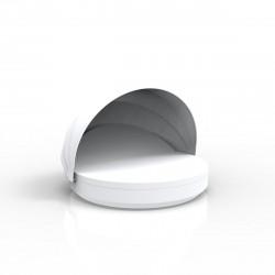 Lit de soleil rond design Vela Daybed, avec parasol, dossier inclinable, coussin Silvertex blanc, Vondom