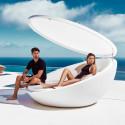 Bain de soleil coquille avec parasol Ulm Daybed, Vondom Lumineux Led blanc, 210x200xH97cm
