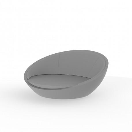 Ulm Daybed coquille gris argent, Vondom, coussin Silvertex gris argent, 210x200xH97cm