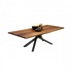 Table Pechino, Midj plateau noyer, pieds acier 250 cm x106 cm