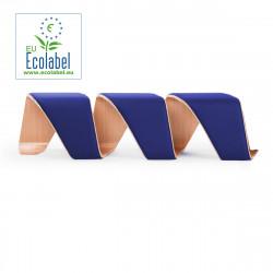 Banc design DNA, True design, 3 places chêne naturel, revêtement bleu roi