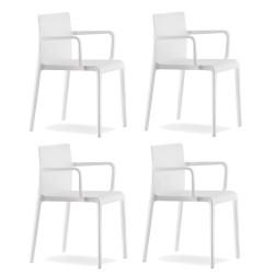 Lot de 4 Chaises avec accoudoirs Volt 675, Pedrali, blanc