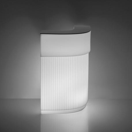 Bar Cordiale Corner lumineux, module d'angle, coloris blanc, Slide Design, L70 x P70 x H110 cm