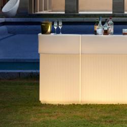 Bar Cordiale Corner lumineux, module d\'angle, coloris vanille, Slide Design, L70 x P70 x H110 cm