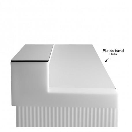 Plan de travail Cordiale Desk, HPL blanc, pour module droit de bar Cordiale, Slide Design
