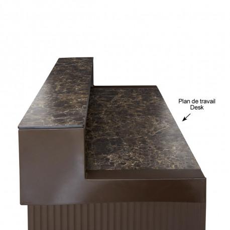 Plan de travail Cordiale Desk, HPL effet marbre Veneto Impérial, pour module droit de bar Cordiale, Slide Design