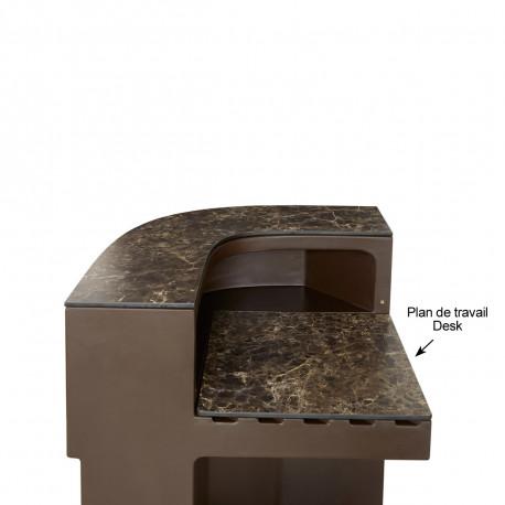 Plan de travail Cordiale Corner Desk, HPL effet Veneto Impérial, pour module d'angle de bar Cordiale, Slide Design