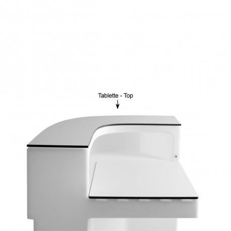 Tablette Cordiale Corner Top, HPL blanc, pour module d'angle de bar Cordiale, Slide Design