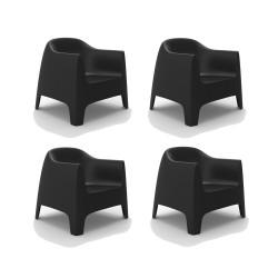 Set de 4 Fauteuils Lounge Solid, Vondom noir