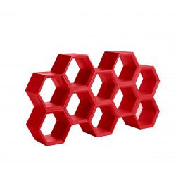 Etagère alvéoles nid d'abeilles Hexa, rouge