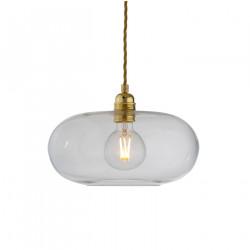 Suspension verre soufflé design Horizon Transparent, diamètre 29 cm, Ebb & Flow, douille et câble dorés