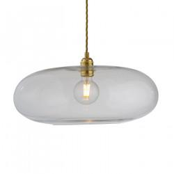 Luminaire verre soufflé Horizon Transparent, diamètre 45 cm, Ebb & Flow, douille et câble dorés