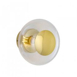 Applique et plafonnier bulle de verre soufflé Horizon Transparent, diamètre 21 cm, Ebb & Flow, centre métal doré